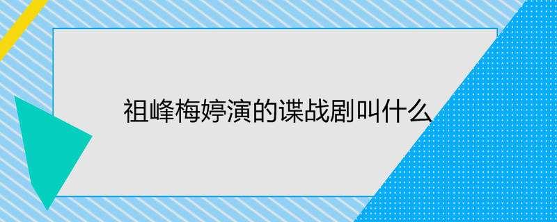 祖峰梅婷演的谍战剧叫什么