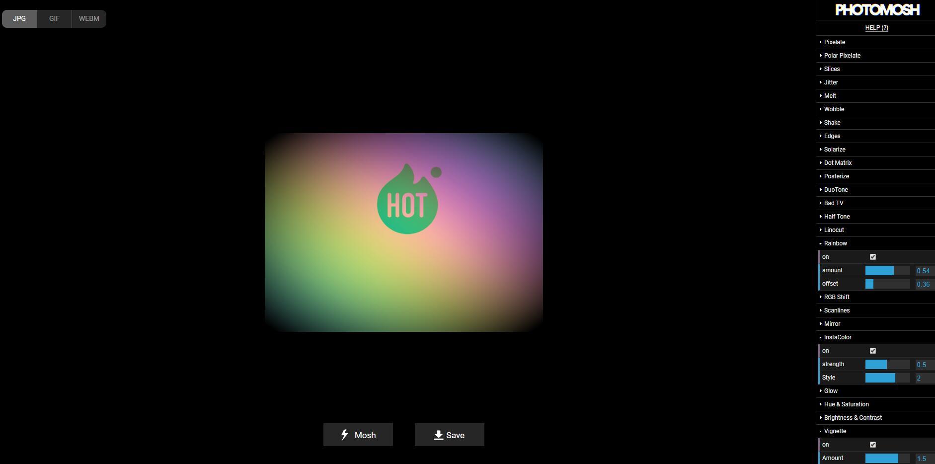 PHOTOMOSH-图片视频特效在线工具