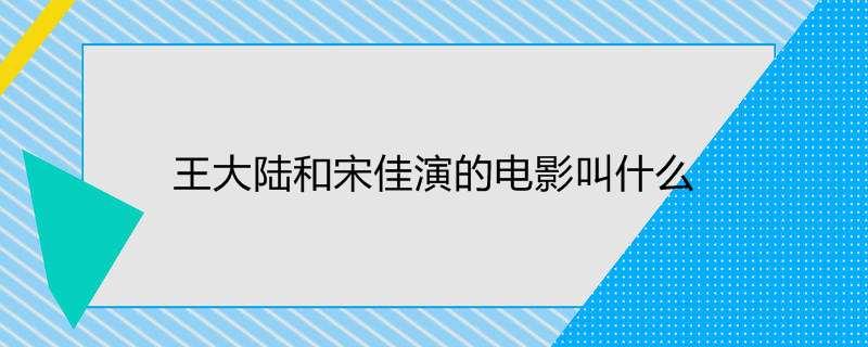 王大陆和宋佳演的电影叫什么