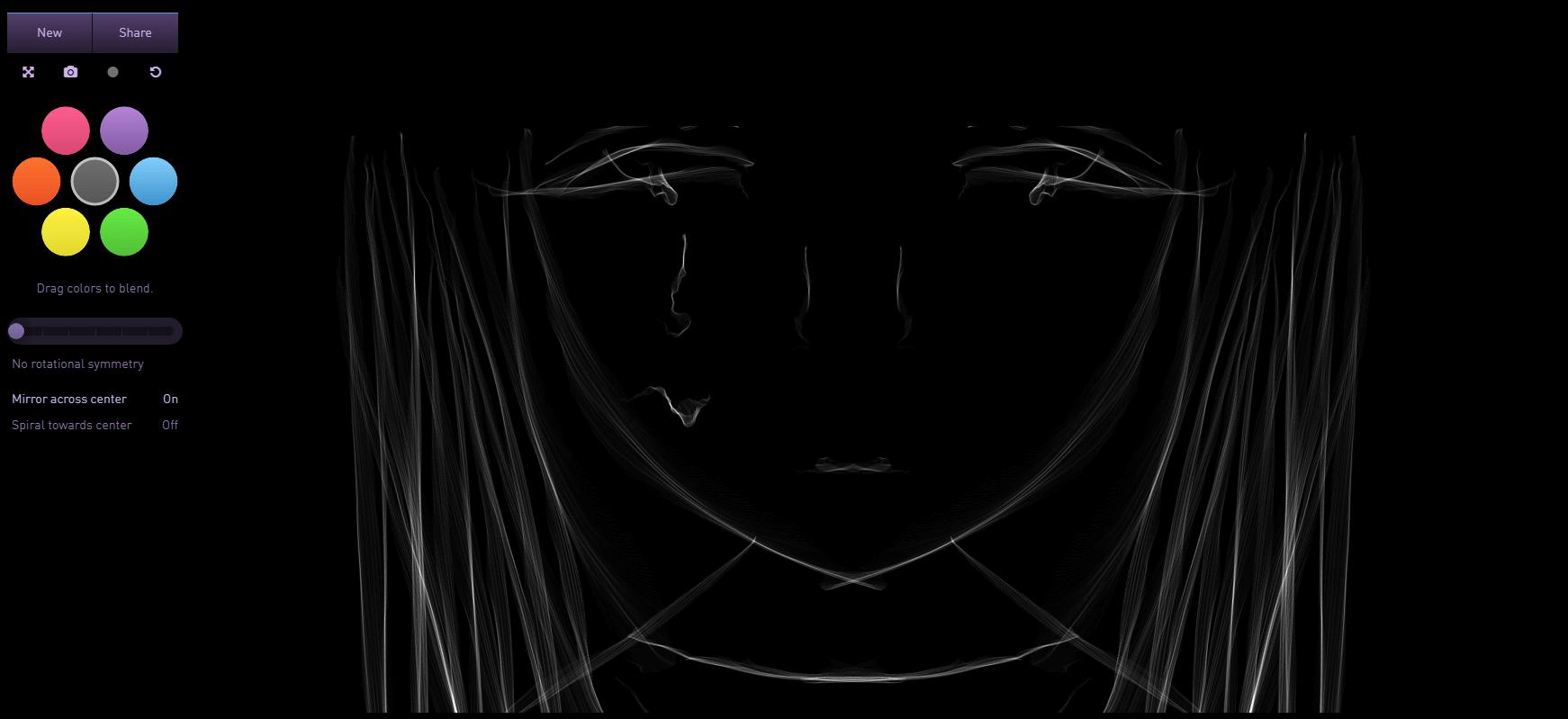 在线画图制作对称图形炫光特效