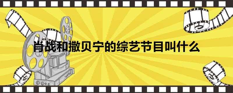肖战和撒贝宁的综艺节目叫什么