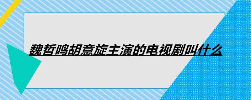 魏哲鸣胡意旋主演的电视剧叫什么