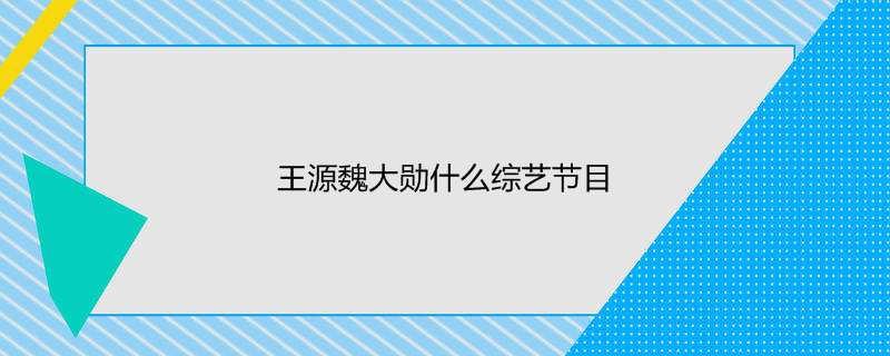王源魏大勋什么综艺节目