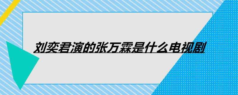 刘奕君演的张万霖是什么电视剧